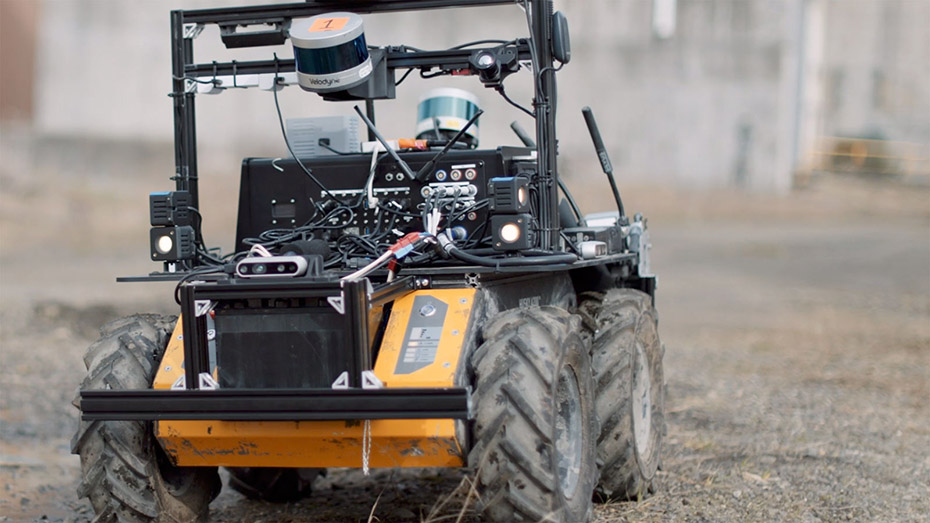 Husky UGV, one of Team CoSTAR's robots for the 2020 DARPA Subterranean Challenge Urban Circuit.
